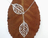 Autumn Leaves -- Sterling Silver Necklace -- Lariat Necklace -- Silver Necklace