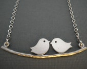 Love Birds Silver Necklace --  Birds on a Branch Necklace