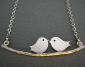 Love Birds Silver Necklace --  Birds on a Branch Necklace