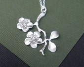 Cherry Blossom Branch Necklace --  Sterling Silver Necklace