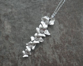 Cascading Flowers Necklace --  Sterling Silver Necklace