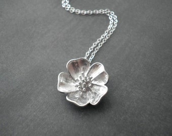 Prairie Rose Necklace --  Sterling Silver Necklace -- Flower Necklace