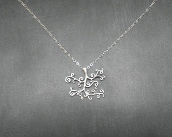 Sterling Silver Necklace  -- Whimsical Tree Necklace