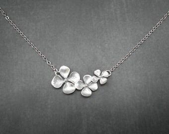 Triple Evening Primrose Necklace  --  Silver Necklace  --  Flower Necklace
