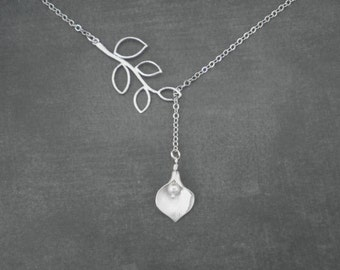 Branch and Calla Lily Necklace  --  Silver Necklace -- Lariat Necklace