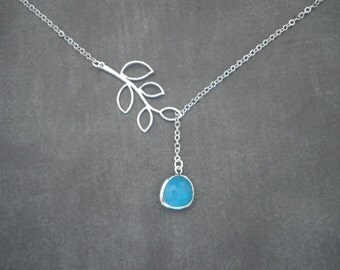 Silver Necklace -- Blue Ice and Branch Lariat Necklace  --  Faceted Glass