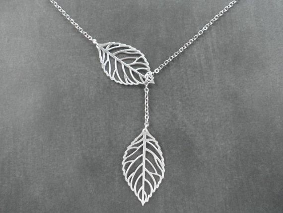 Autumn Leaves -- Leaf Lariat Necklace -- Silver Necklace --  Leaf Necklace