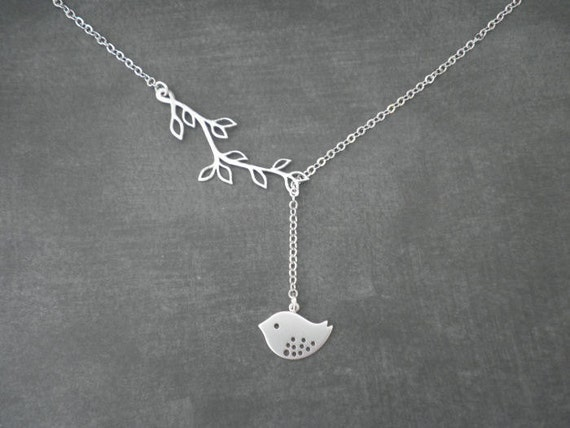 Bird and Multi Leaf Branch Lariat Necklace  --  Silver Necklace  --  Bird and Branch Lariat Necklace--  Sparrow