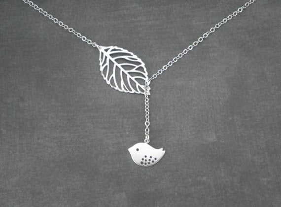 Bird and Leaf Lariat Necklace -- Silver Necklace --  Leaf Necklace -- Lariat Necklace