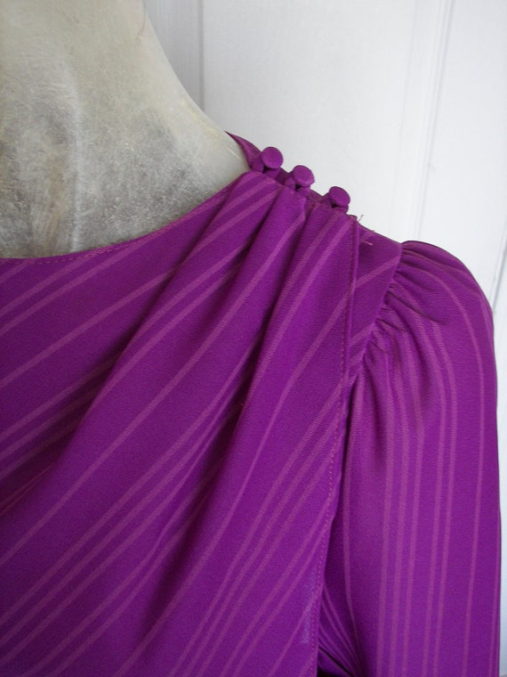 70s Dress - Purple and Petite - Diagonal Stripes - S/M