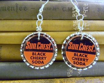 Red Scarlet Crimson Vintage SunCrest Black Cherry Soda Bottlecap Earrings Mother's Day Gift