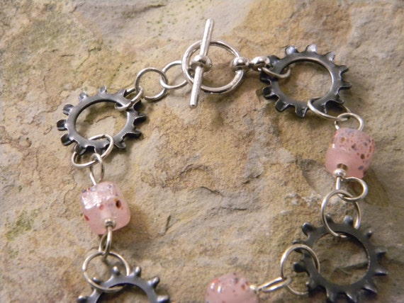 Gear and pink glass Bead Steampunk Bracelet  Jewelry Affaire Valentine's Day Gift