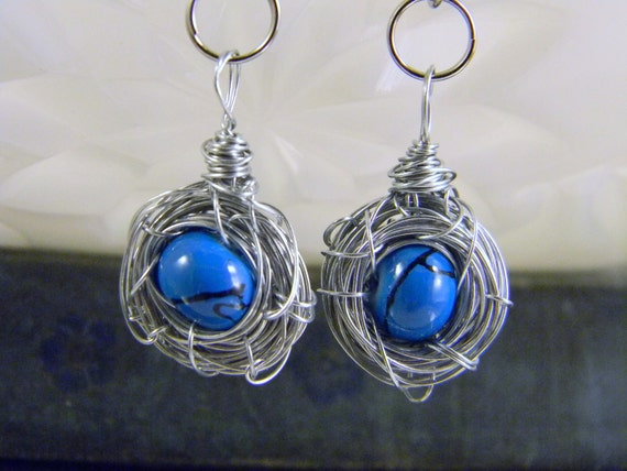Reserved for Rita Wrapped Wire Single Blue Glass Bead Egg Silver Birdnest Earrings Mother's Day Gift