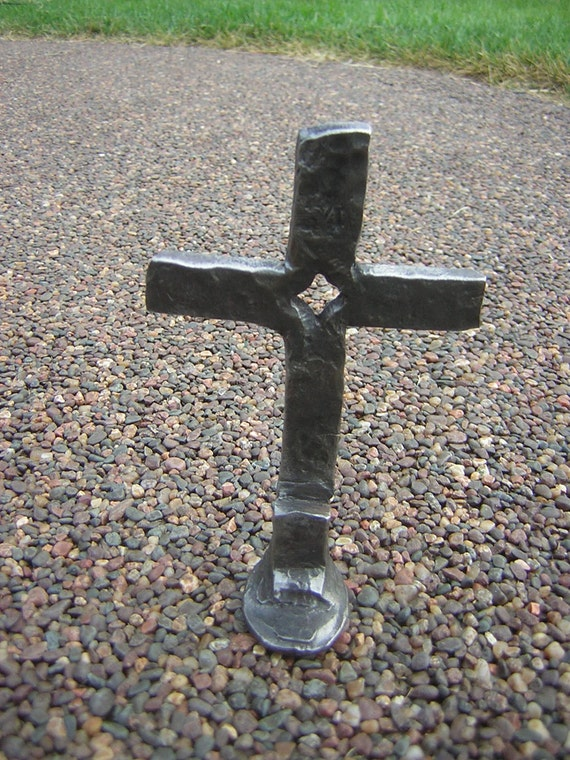 Forged Steel Crosses : Hand forged blacksmith railroad spike cross