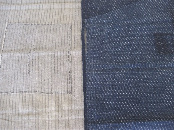 2 Antique handwoven Japanese indigo cotton boro fabrics