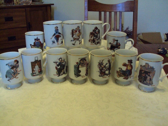 12 Norman Rockwell Porcelain Mugs - The Danbury Mint
