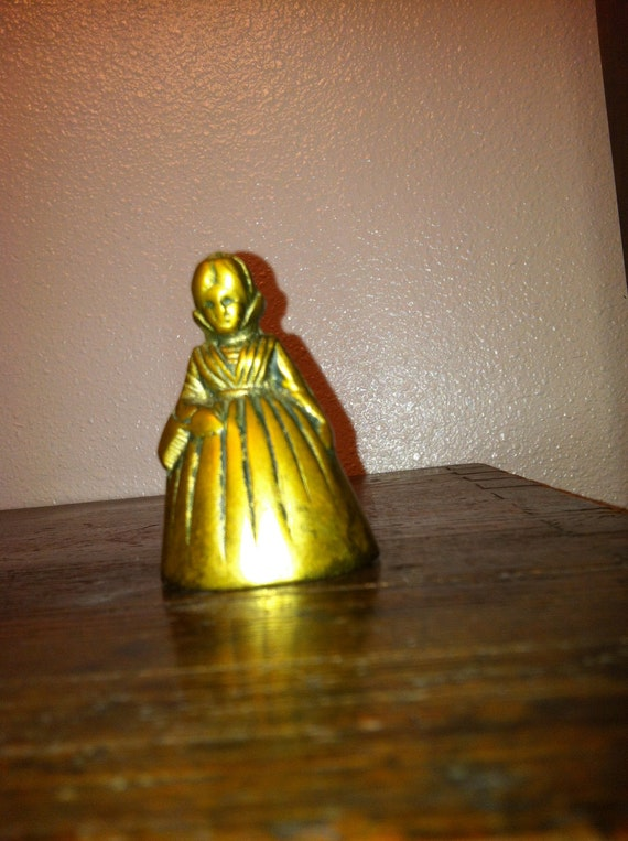 Vintage Old Fashioned Woman Brass Bell