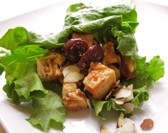 Cherry Chicken Lettuce Wraps with Coconut Rice
