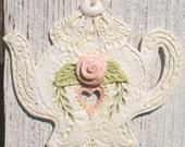 Shabby Rose Teapot Wall Art/Decoration/Ornament
