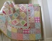 modern  handmade  patchwork baby quilt  girls patchwork quilt wall hanging