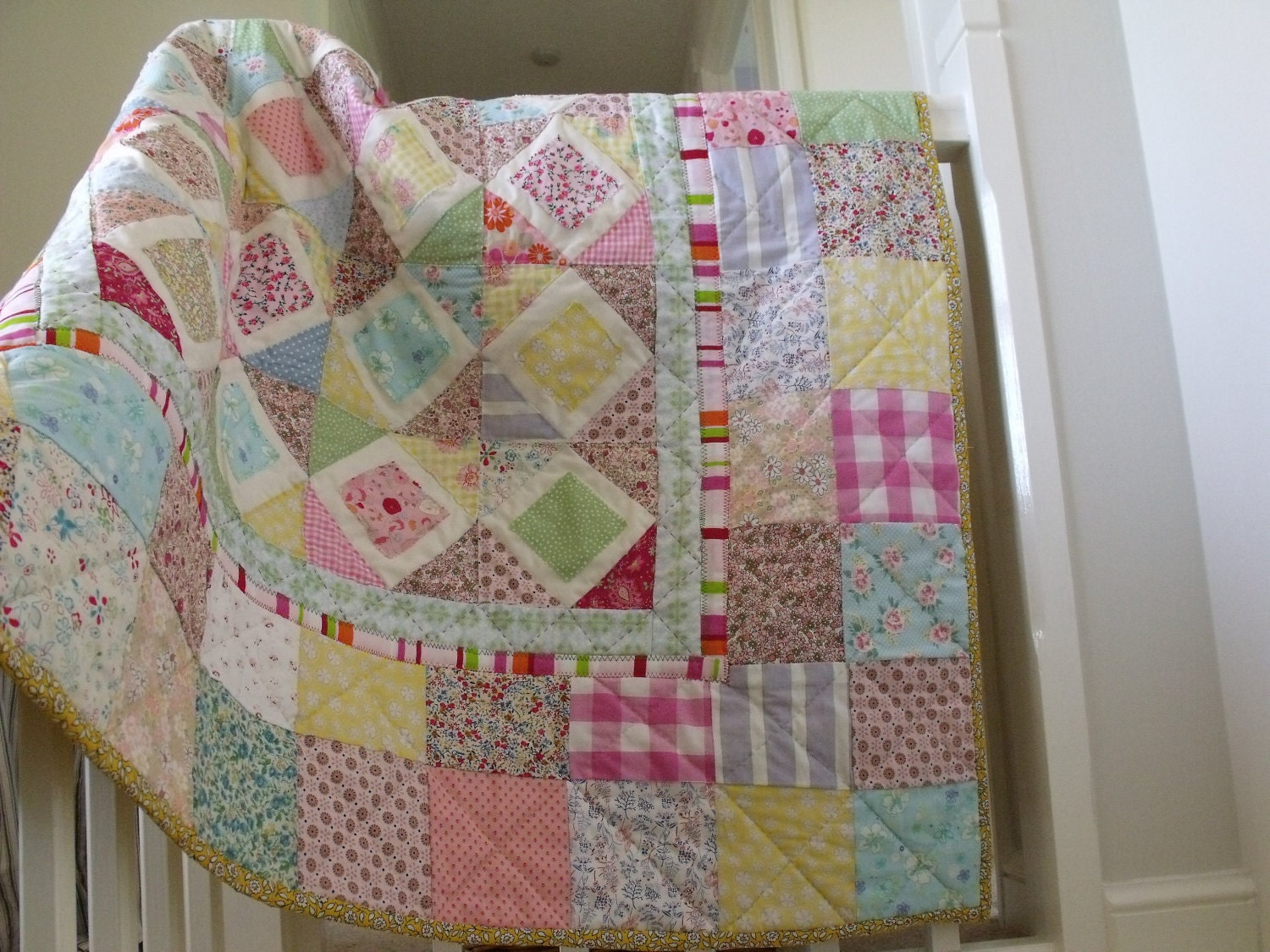 Baby Girls Patchwork Quilt Pastel Colours By AliceAndFlorence