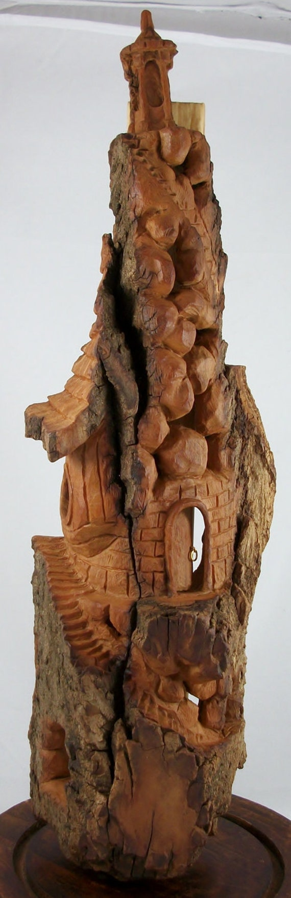 Lighthouse mystical fairy house hand carved cottonwood bark