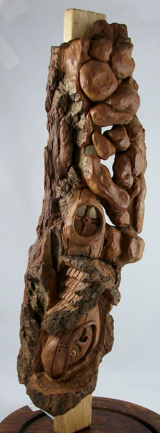 Mystical fairy house hand carved cottonwood bark