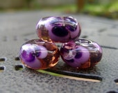 Handmade Purple Pansy Lampwork Glass Beads FREE Shipping
