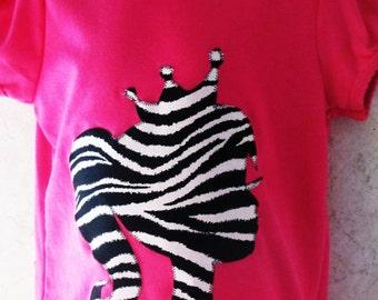 New custom made barbie hot pink zebra barbie appliqued T-shirt zebra 6mos up to 3t only