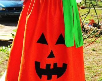 Custom made new jack o lantern pumpkin orange polka dot pillowcase dress halloween sizes 3mos up to 6y soo cute look with hairbow