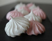 Little Love Clouds - Pink and White Vanilla French Meringues - 24 cookies