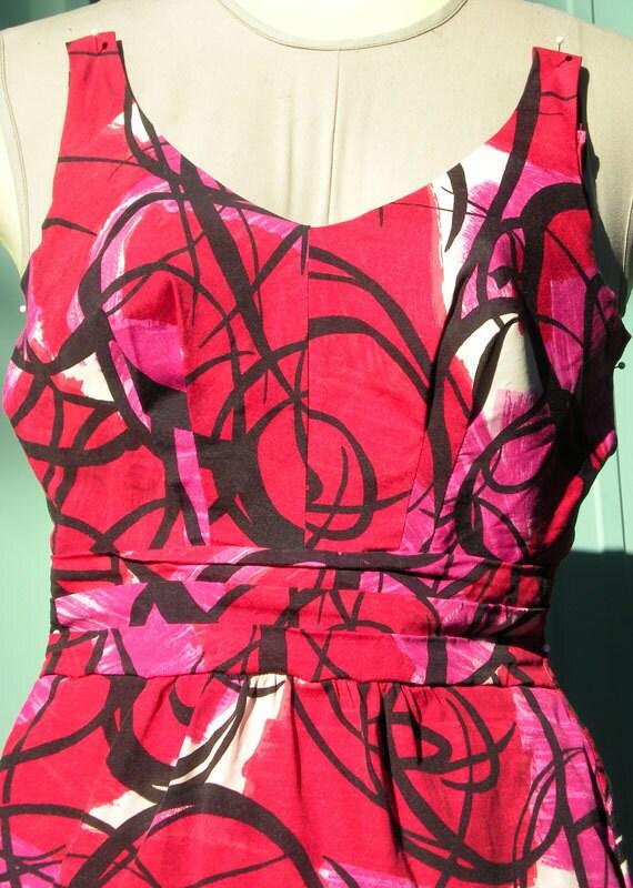 Vintage 1950's 60s ROSE MARIE REID Fuchsia Red Abstract Swim suit Bathing Suit Beach Beauty Halter