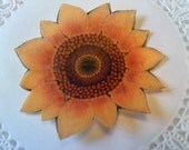 Burnt orange rustic sunflower, edible paper toppers, Qty:24pcs.