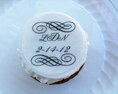 Monogram, edible toppers QTY: 12