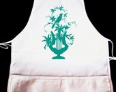 Bird on a Gate Silhouette Apron -- Fully adjustable, mid length ANY COLOR IMAGE
