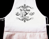 "Vintage Teapot ""Tearoom And Bakery"" Apron  -- Fully adjustable, mid length ANY COLOR IMAGE"