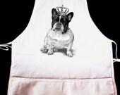 Royal Bulldog Illustration Apron  -- Fully adjustable, mid length