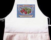 Vintage Strawberries Label Illustration Apron -- Fully adjustable, mid length