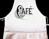 """Vintage """"Cafe"""" Apron  -- Fully adjustable, mid length ANY COLOR IMAGE"""
