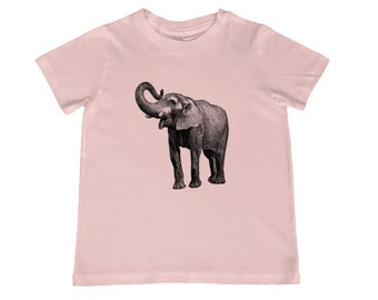 Child Elephant Vintage Illustration TShirt - color choice, personalization available - youth sizes xs, s, m, l