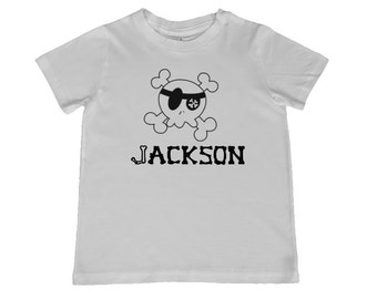 Child Personalized Cute Boy Skull and Bones Tshirt - other tshirt and font colors available