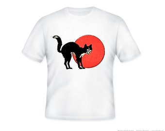 Vintage Halloween Cat and Full Moon image Adult TShirt,  Sizes S-5XL