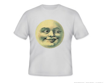 Vintage Man in the Moon Quirky Illustration Adult Tshirt -- other tshirt color and personalization available - adult sizes S-3X