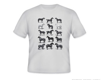Vintage Horses Illustration Adult Tshirt  -- other tshirt color and personalization available - adult sizes S-3XL