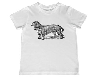 Vintage Dachshund Dog illustration TShirt - color choice, personalization available - youth sizes xs, s, m, l, xl