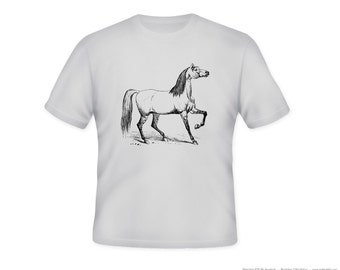 Vintage Horse Illustration Adult Tshirt  -- other tshirt color and personalization available - adult sizes S-3XL