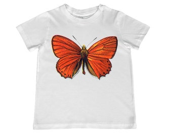 Beautiful Vintage Orange Butterfly illustration TShirt - Infant, toddler, youth sizes - personalization available