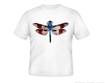 Adult Vintage Dragonfly Illustration on Adult Tshirt  -- other tshirt color and personalization available - adult sizes S-3XL