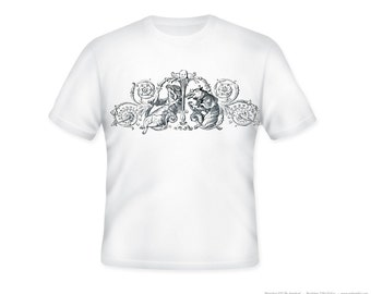 Fanciful Foxes on Scroll Design Illustration on Adult Tshirt  -- other tshirt color and personalization available - adult sizes S-3XL