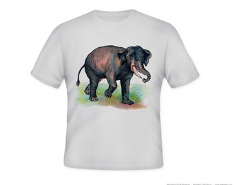 Elephant vintage image on Adult Tshirt  -- other tshirt color and personalization available - adult sizes S-3XL